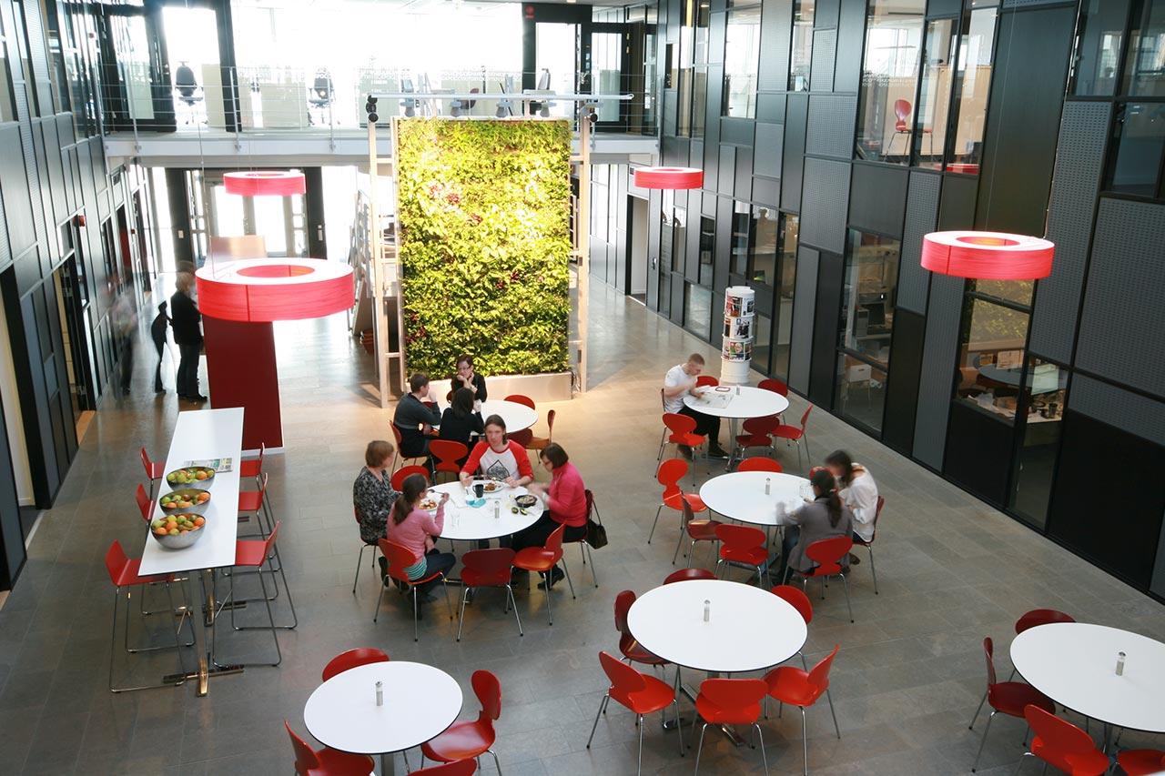 Stor växtvägg från Vertical Plants System hos studentlitteratur i Lund